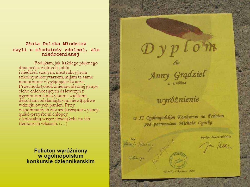 Felieton wyróżniony w ogólnopolskim konkursie dziennikarskim
