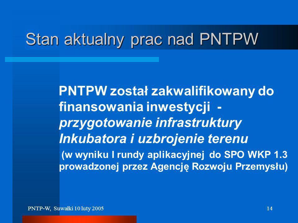 Stan aktualny prac nad PNTPW