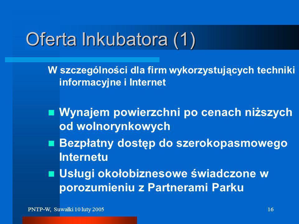 Oferta Inkubatora (1) W szczególności dla firm wykorzystujących techniki informacyjne i Internet.