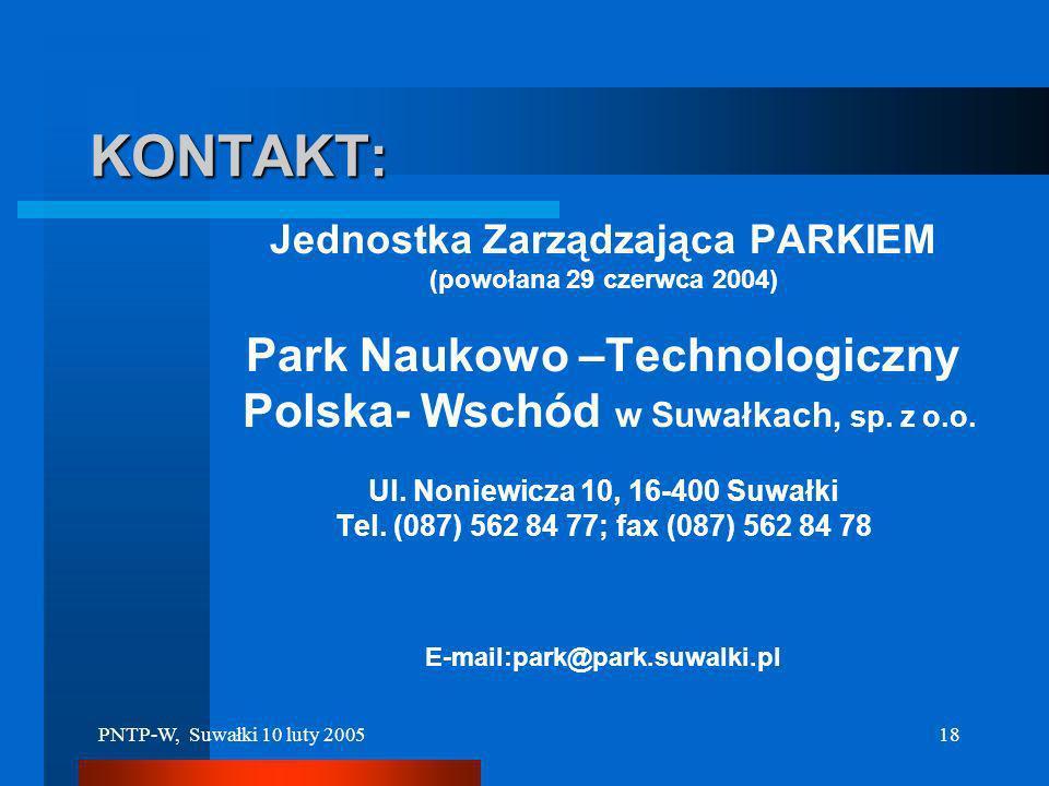 KONTAKT: Park Naukowo –Technologiczny