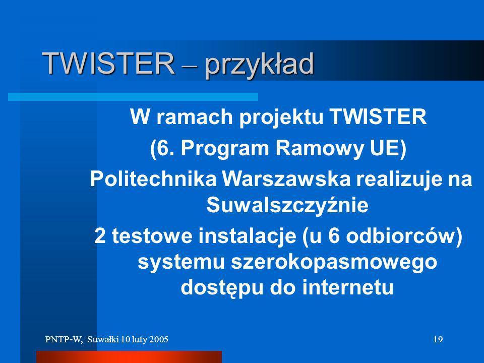 TWISTER – przykład W ramach projektu TWISTER (6. Program Ramowy UE)
