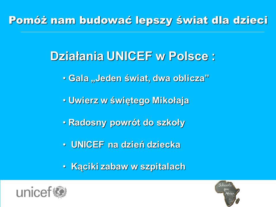 Pomóż nam budować lepszy świat dla dzieci Działania UNICEF w Polsce :