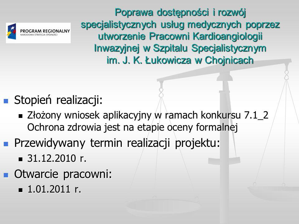 Przewidywany termin realizacji projektu: Otwarcie pracowni: