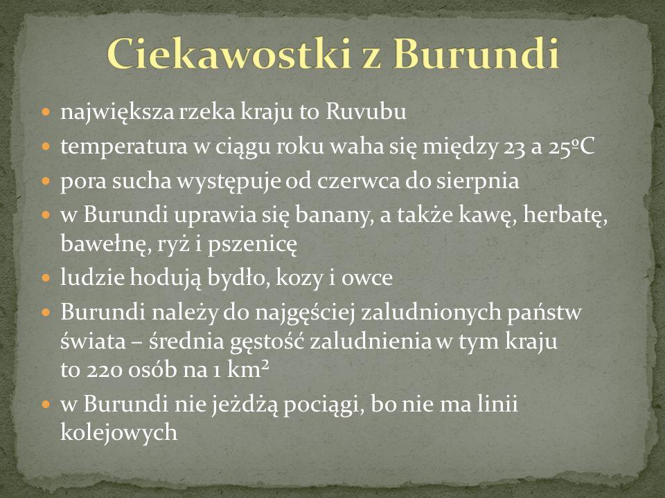 Ciekawostki z Burundi największa rzeka kraju to Ruvubu