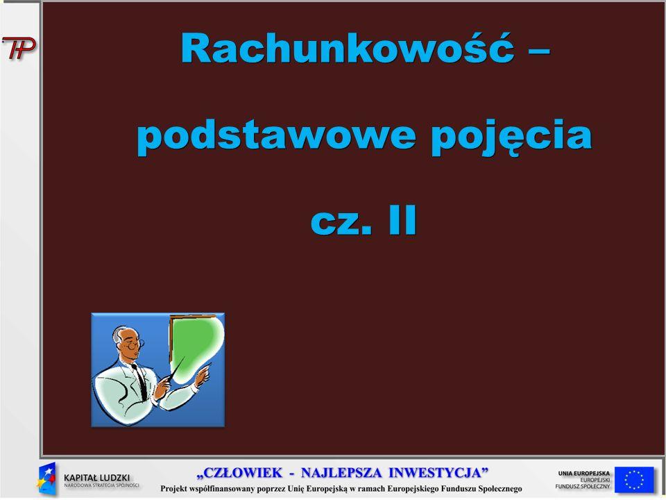 Rachunkowość – podstawowe pojęcia cz. II