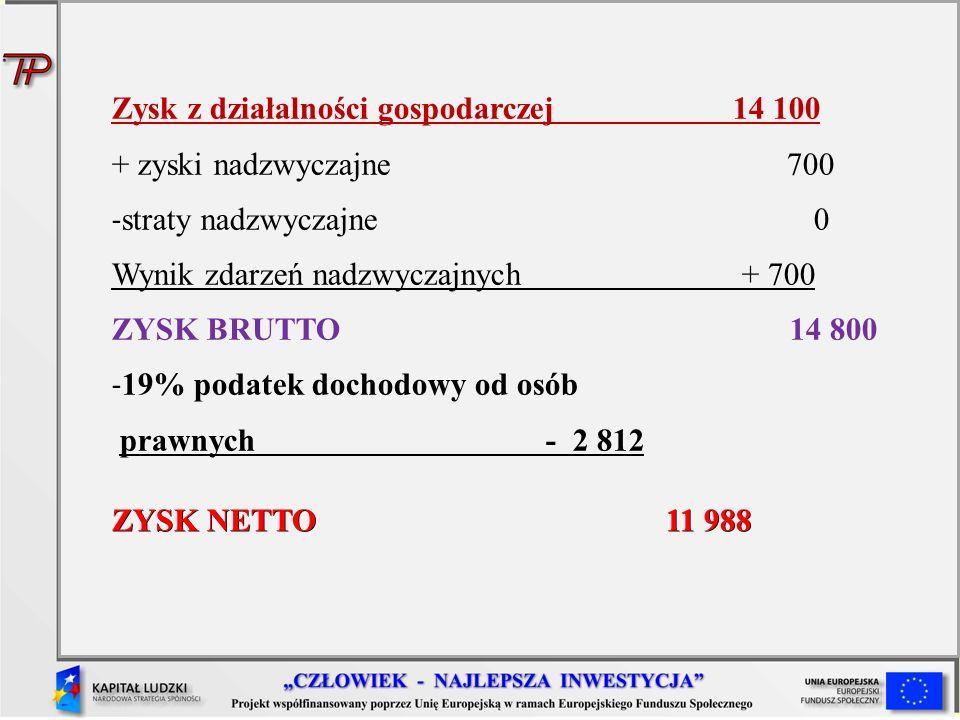 Zysk z działalności gospodarczej 14 100