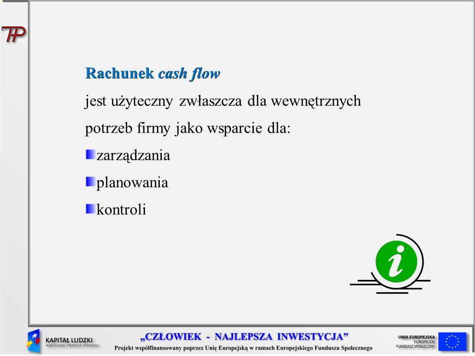 Rachunek cash flow jest użyteczny zwłaszcza dla wewnętrznych potrzeb firmy jako wsparcie dla: