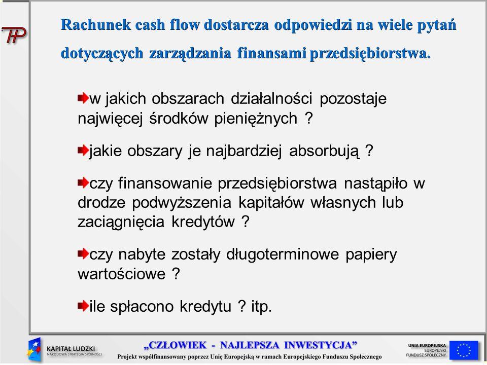 Rachunek cash flow dostarcza odpowiedzi na wiele pytań dotyczących zarządzania finansami przedsiębiorstwa.