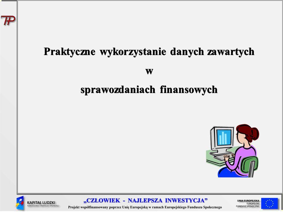 Praktyczne wykorzystanie danych zawartych w sprawozdaniach finansowych