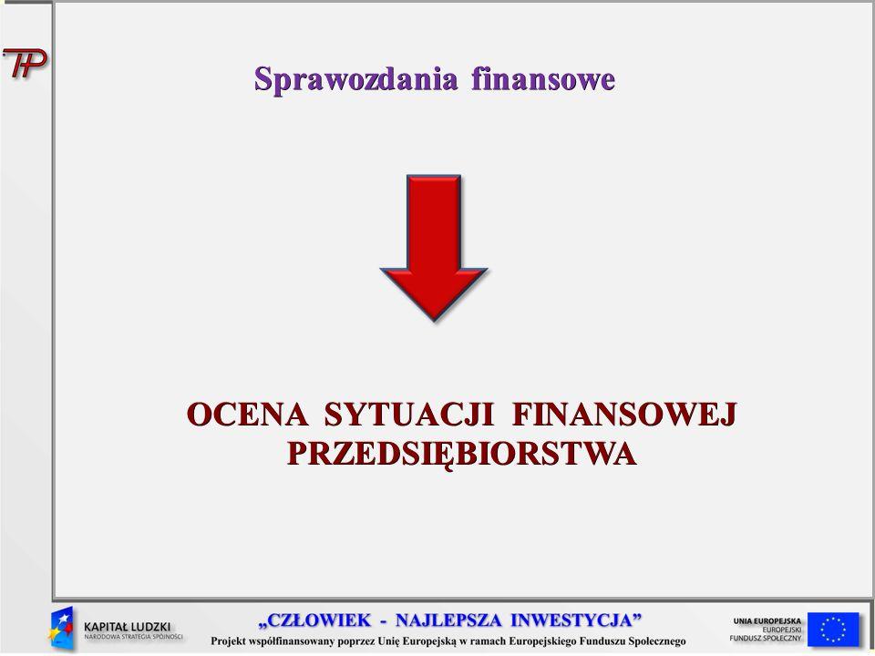 Sprawozdania finansowe OCENA SYTUACJI FINANSOWEJ PRZEDSIĘBIORSTWA