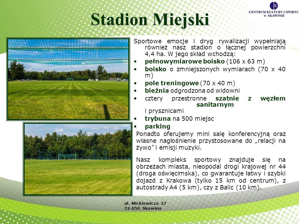 Stadion Miejski Sportowe emocje i dryg rywalizacji wypełniają również nasz stadion o łącznej powierzchni 4,4 ha. W jego skład wchodzą: