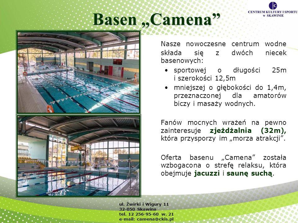 """Basen """"Camena Nasze nowoczesne centrum wodne składa się z dwóch niecek basenowych: sportowej o długości 25m i szerokości 12,5m."""