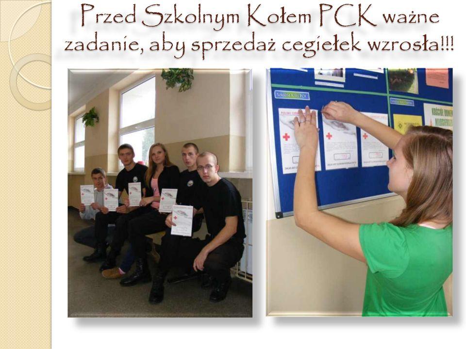 Przed Szkolnym Kołem PCK ważne zadanie, aby sprzedaż cegiełek wzrosła!!!