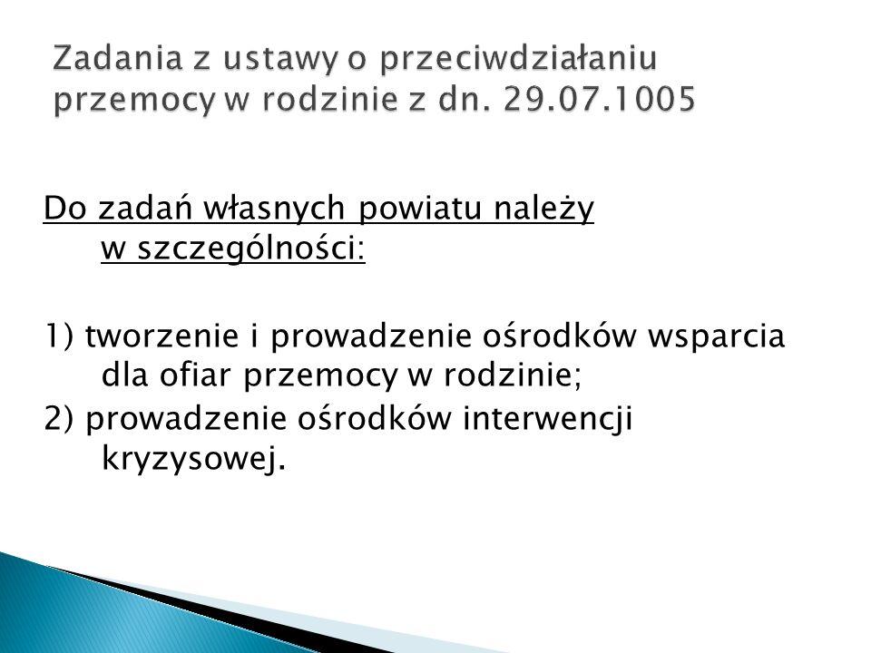 Zadania z ustawy o przeciwdziałaniu przemocy w rodzinie z dn. 29. 07