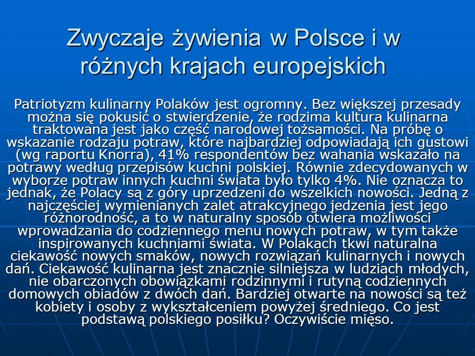 Zwyczaje żywienia w Polsce i w różnych krajach europejskich