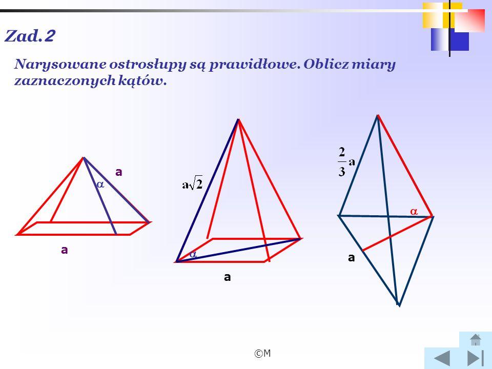 Zad.2 Narysowane ostrosłupy są prawidłowe. Oblicz miary zaznaczonych kątów.   a  a a ©M