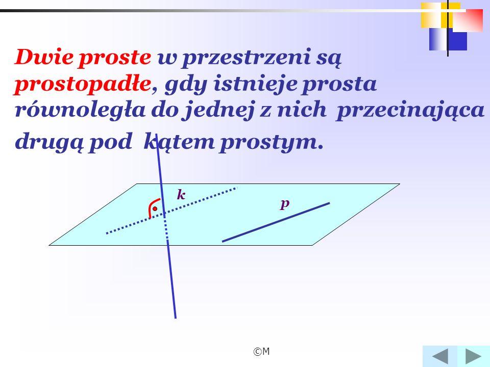 Dwie proste w przestrzeni są prostopadłe, gdy istnieje prosta równoległa do jednej z nich przecinająca drugą pod kątem prostym.