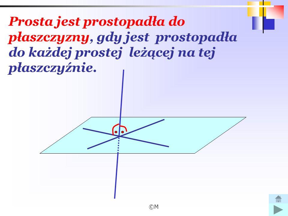 Prosta jest prostopadła do płaszczyzny, gdy jest prostopadła do każdej prostej leżącej na tej płaszczyźnie.