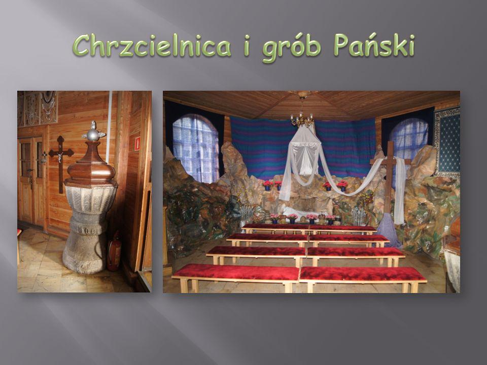 Chrzcielnica i grób Pański