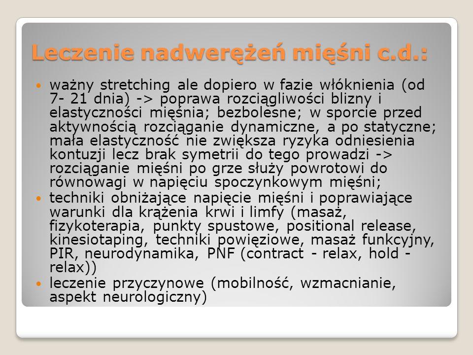 Leczenie nadwerężeń mięśni c.d.: