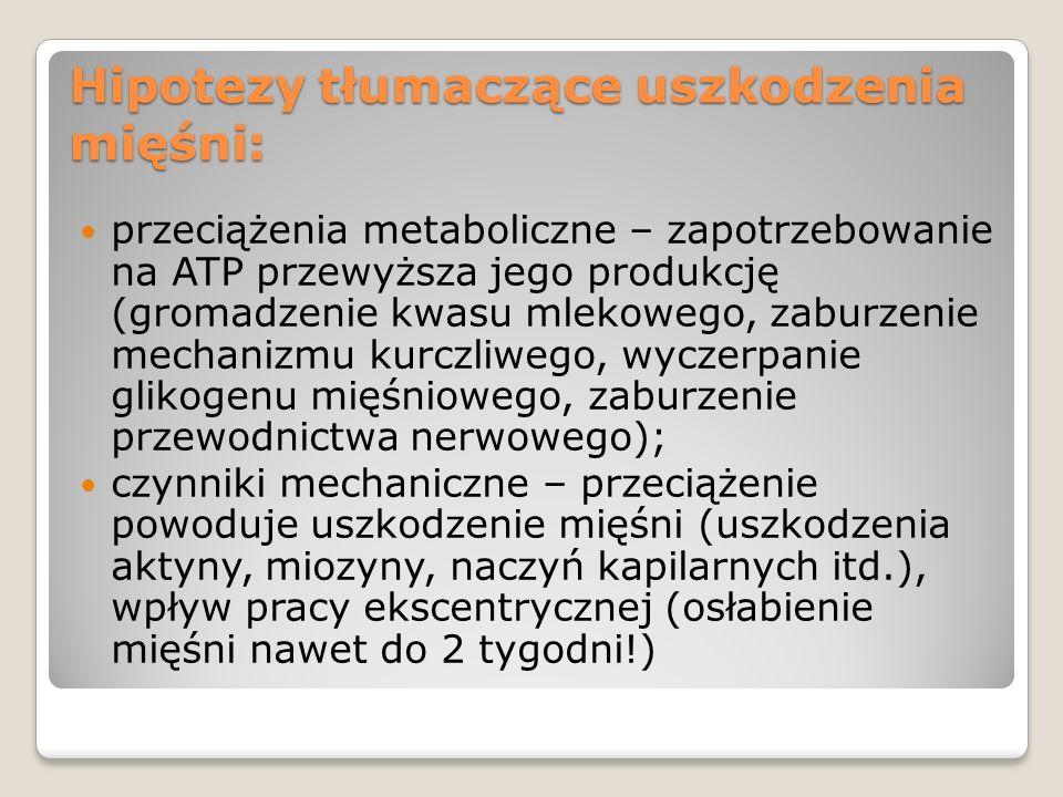 Hipotezy tłumaczące uszkodzenia mięśni: