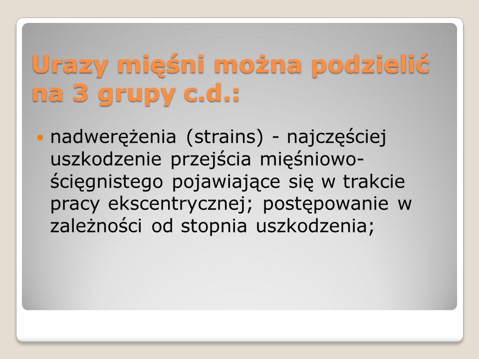Urazy mięśni można podzielić na 3 grupy c.d.: