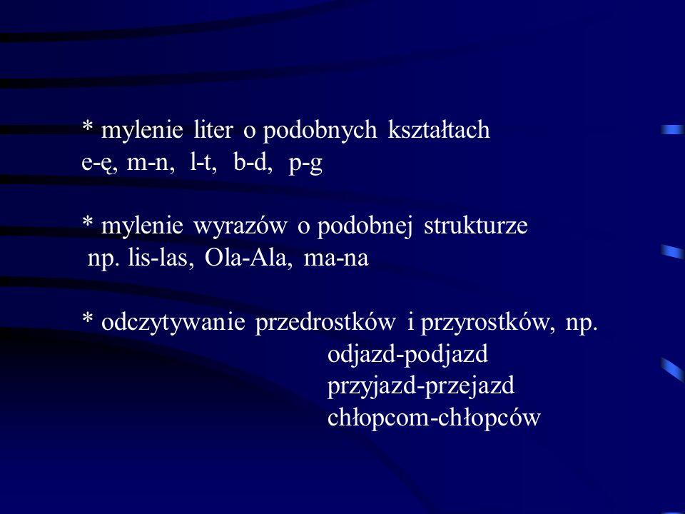 * mylenie liter o podobnych kształtach e-ę, m-n, l-t, b-d, p-g