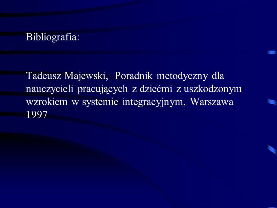 Bibliografia: Tadeusz Majewski, Poradnik metodyczny dla nauczycieli pracujących z dziećmi z uszkodzonym wzrokiem w systemie integracyjnym, Warszawa 1997
