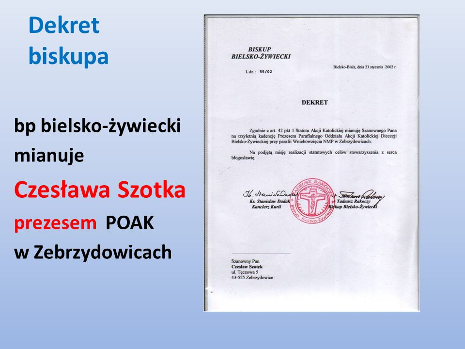 Dekret biskupa Czesława Szotka bp bielsko-żywiecki mianuje