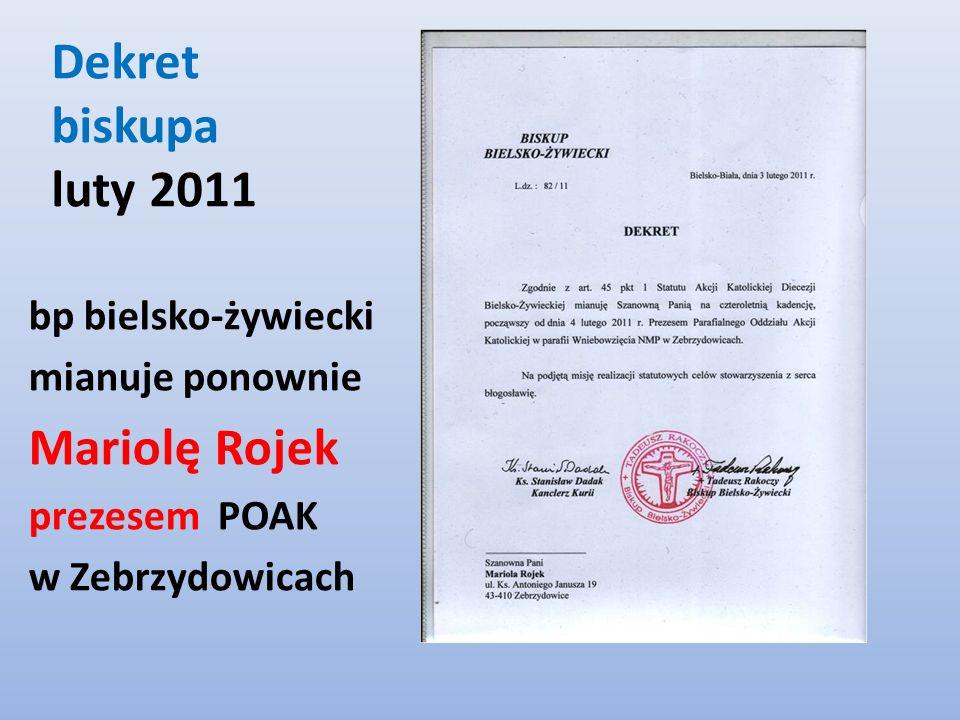 Dekret biskupa luty 2011 Mariolę Rojek bp bielsko-żywiecki