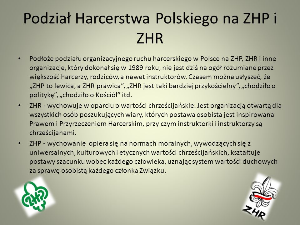 Podział Harcerstwa Polskiego na ZHP i ZHR