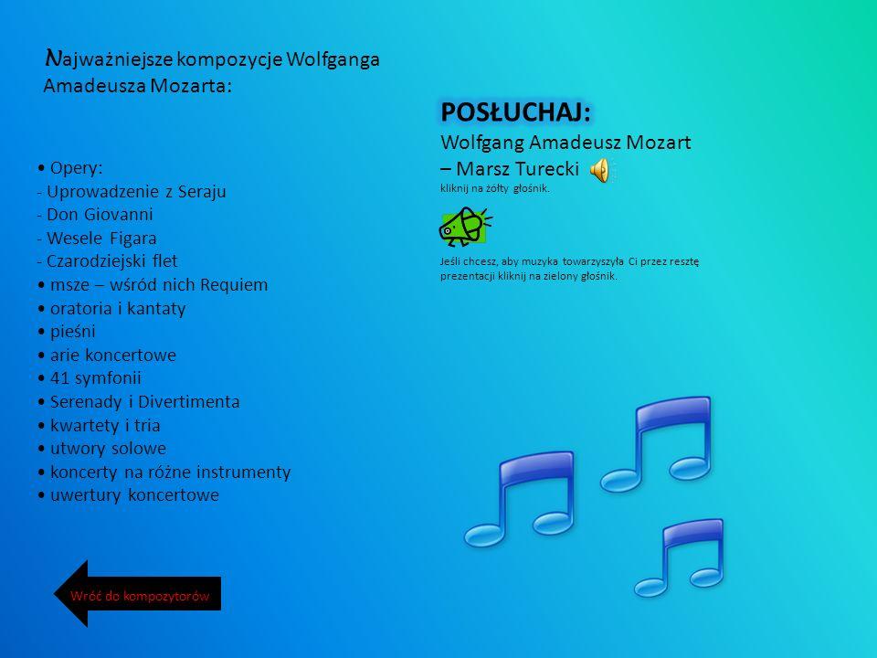 Najważniejsze kompozycje Wolfganga Amadeusza Mozarta: