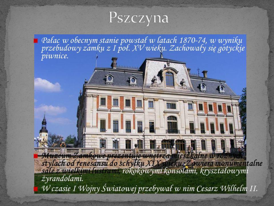 Pszczyna Pałac w obecnym stanie powstał w latach 1870-74, w wyniku przebudowy zamku z I poł. XV wieku. Zachowały się gotyckie piwnice.