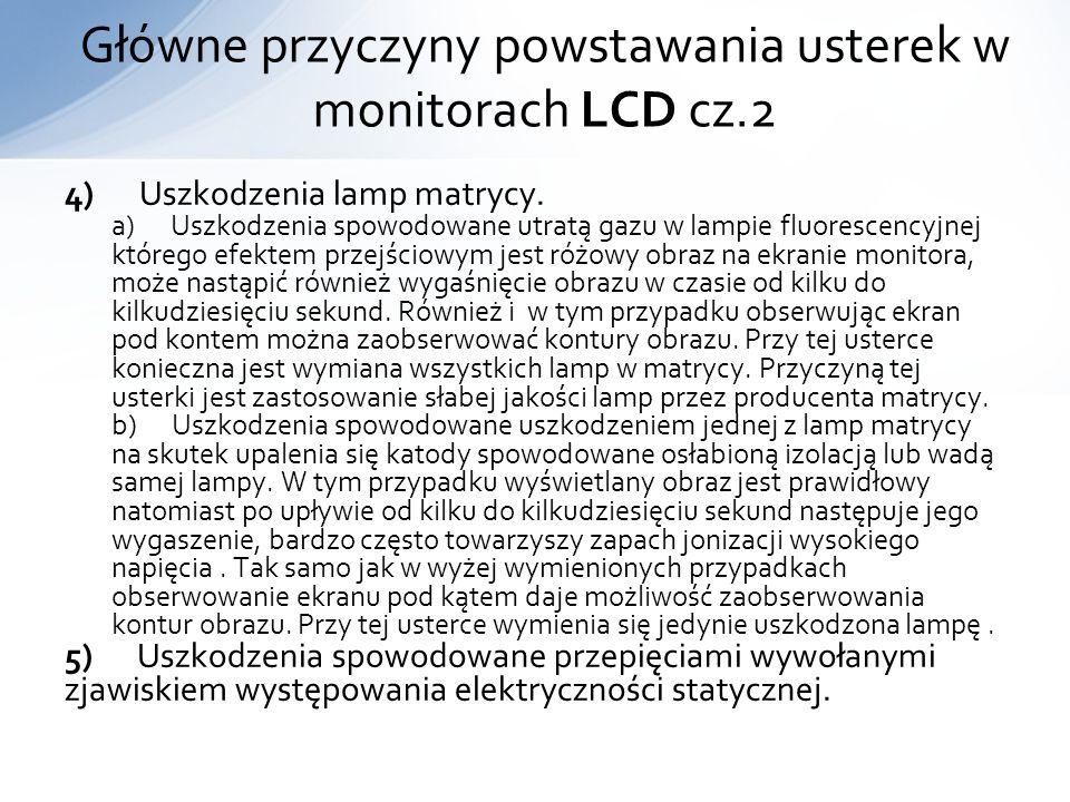 Główne przyczyny powstawania usterek w monitorach LCD cz.2
