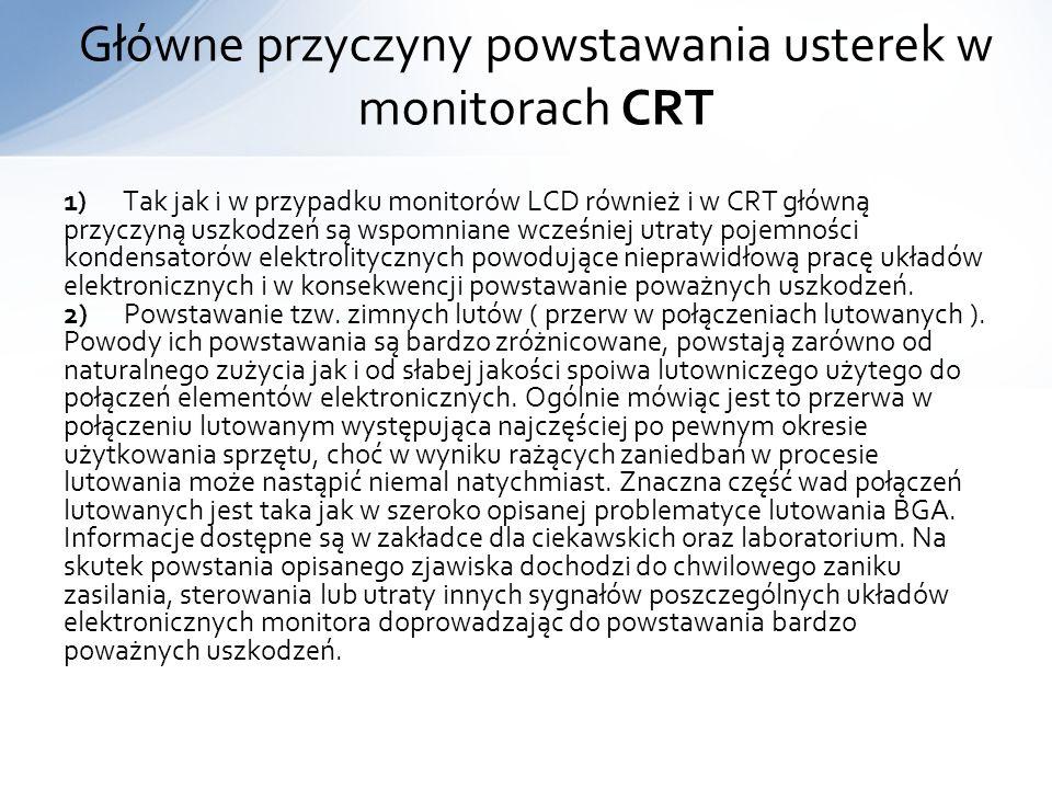 Główne przyczyny powstawania usterek w monitorach CRT