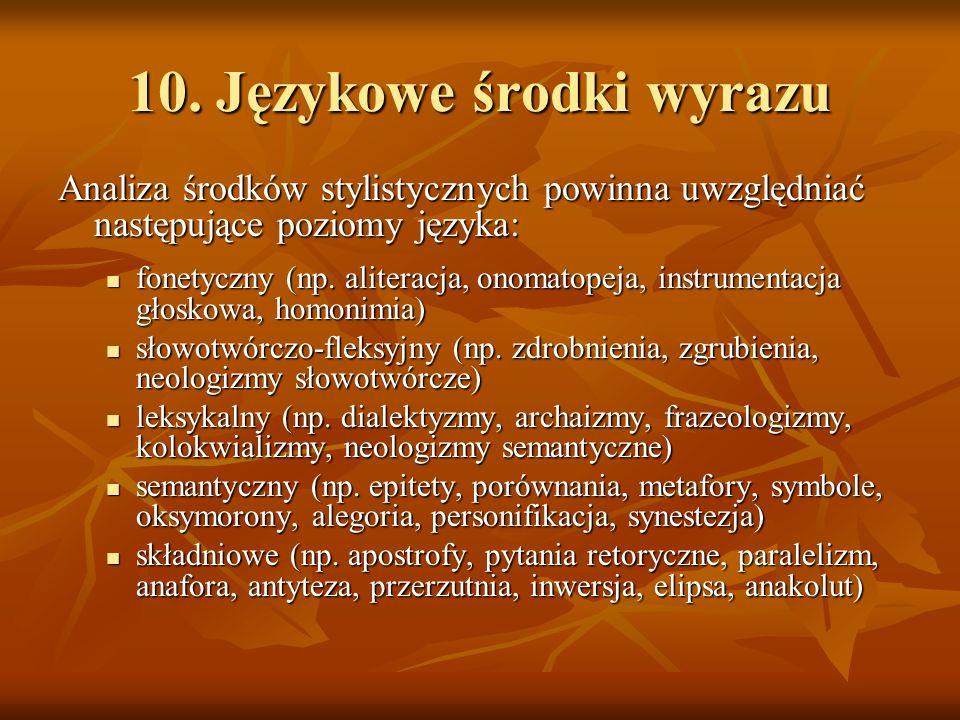 10. Językowe środki wyrazu