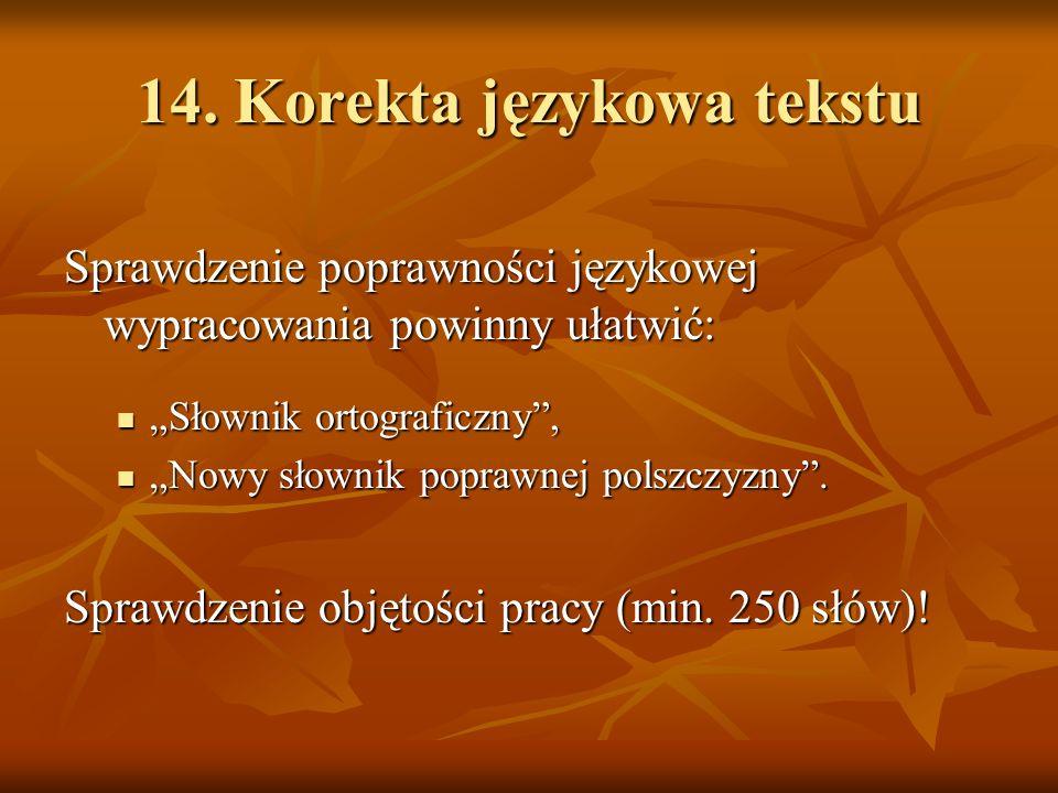 14. Korekta językowa tekstu