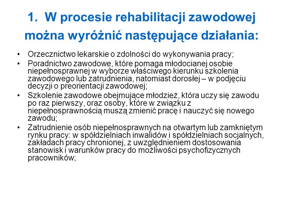 1. W procesie rehabilitacji zawodowej można wyróżnić następujące działania: