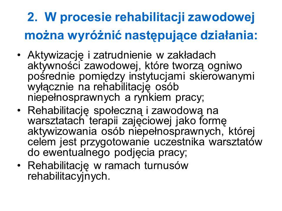 2. W procesie rehabilitacji zawodowej można wyróżnić następujące działania:
