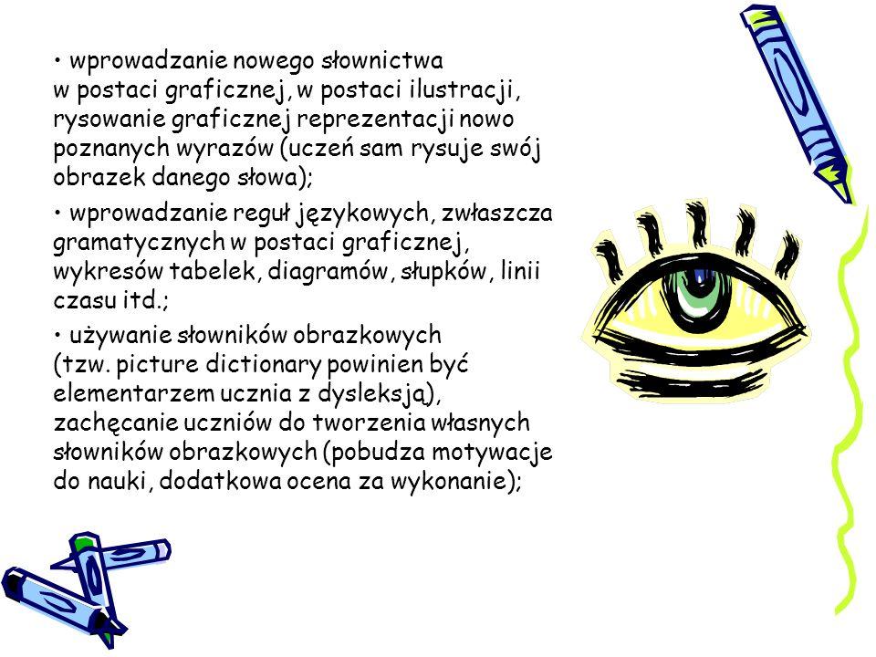 wprowadzanie nowego słownictwa w postaci graficznej, w postaci ilustracji, rysowanie graficznej reprezentacji nowo poznanych wyrazów (uczeń sam rysuje swój obrazek danego słowa);