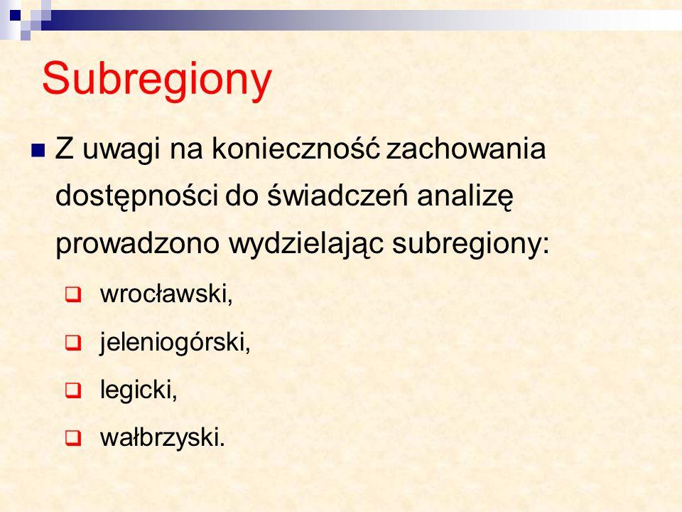 Subregiony Z uwagi na konieczność zachowania dostępności do świadczeń analizę prowadzono wydzielając subregiony: