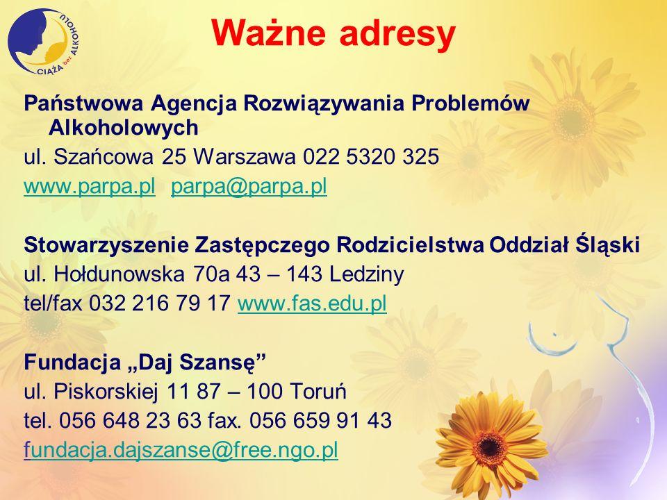 Ważne adresy Państwowa Agencja Rozwiązywania Problemów Alkoholowych