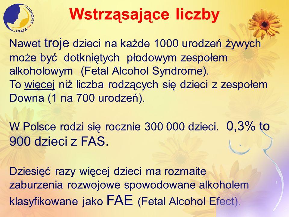 Wstrząsające liczby Nawet troje dzieci na każde 1000 urodzeń żywych może być dotkniętych płodowym zespołem alkoholowym (Fetal Alcohol Syndrome).