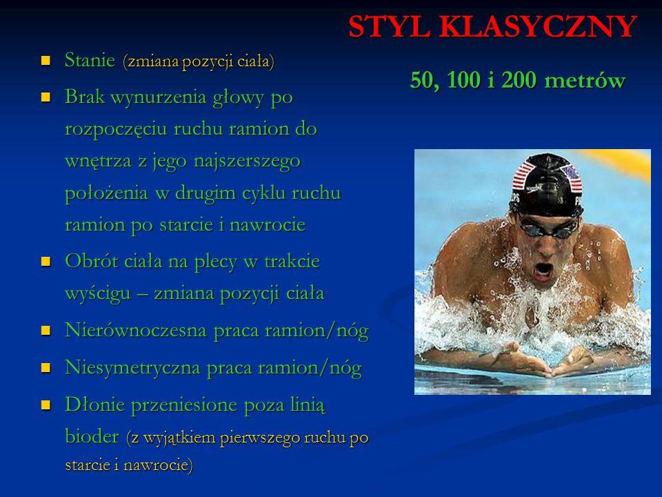 STYL KLASYCZNY 50, 100 i 200 metrów Stanie (zmiana pozycji ciała)