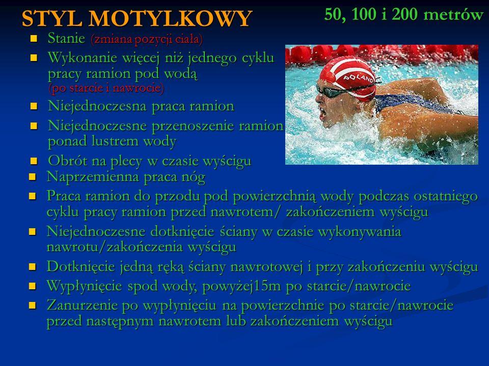 STYL MOTYLKOWY 50, 100 i 200 metrów Stanie (zmiana pozycji ciała)