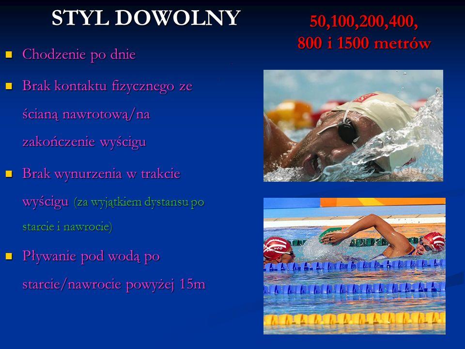 STYL DOWOLNY 50,100,200,400, 800 i 1500 metrów Chodzenie po dnie