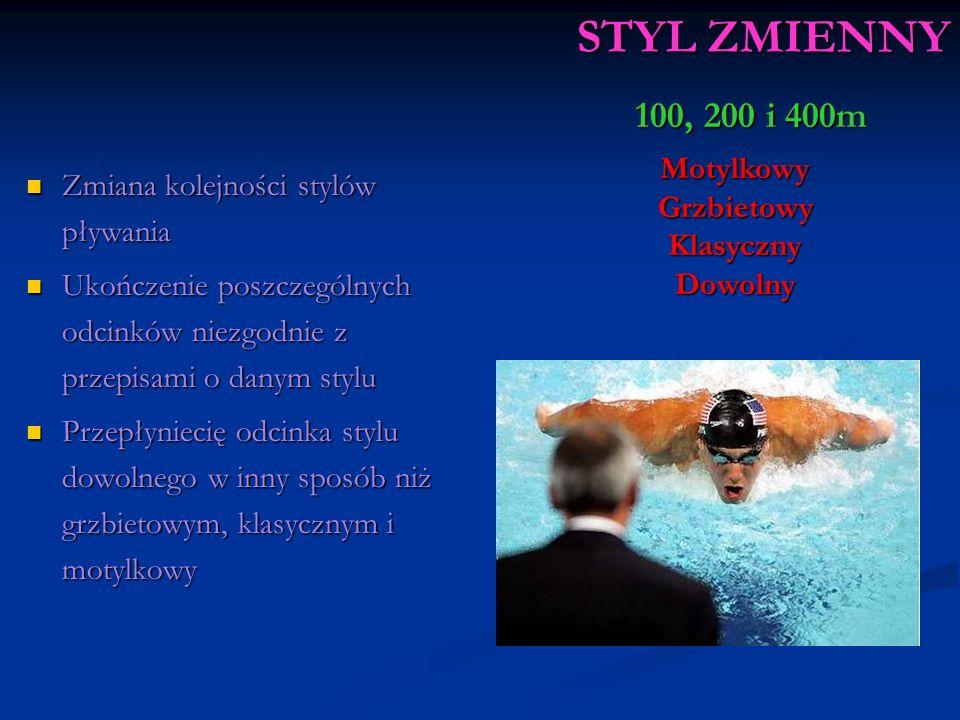 STYL ZMIENNY 100, 200 i 400m Zmiana kolejności stylów pływania