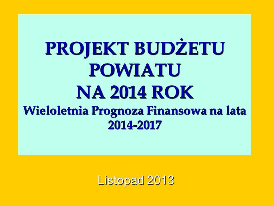 PROJEKT BUDŻETU POWIATU NA 2014 ROK Wieloletnia Prognoza Finansowa na lata 2014-2017