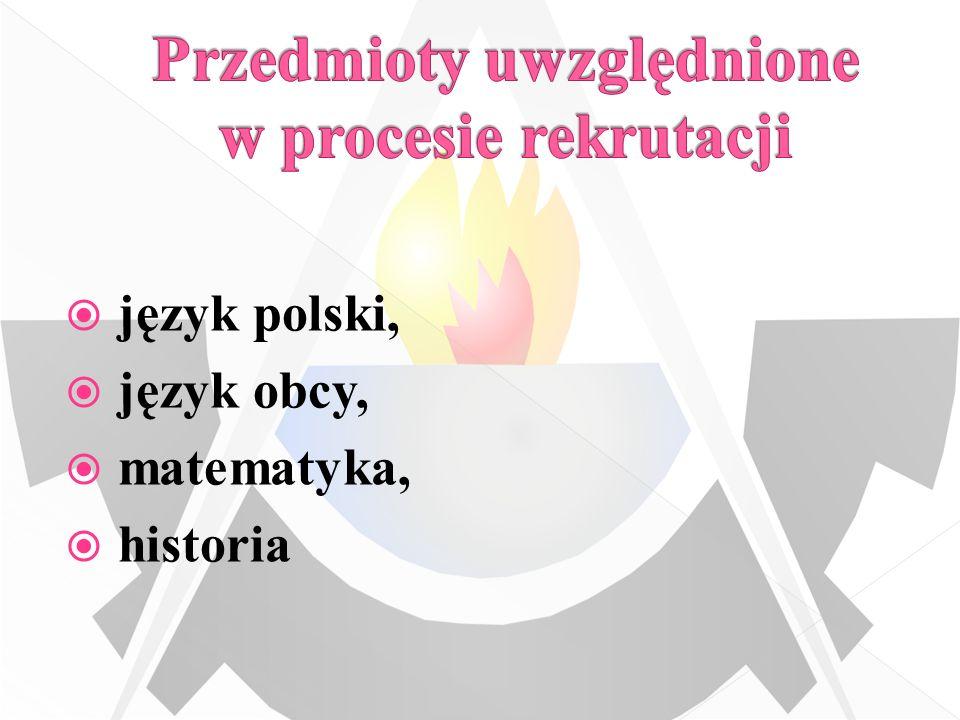Przedmioty uwzględnione w procesie rekrutacji