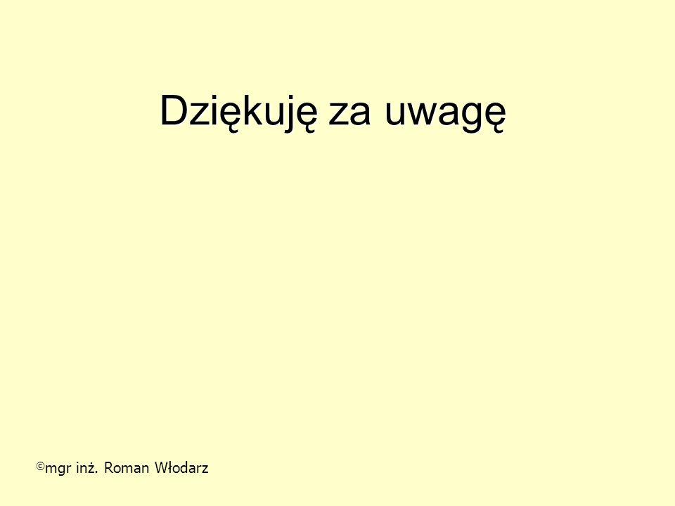 Dziękuję za uwagę ©mgr inż. Roman Włodarz